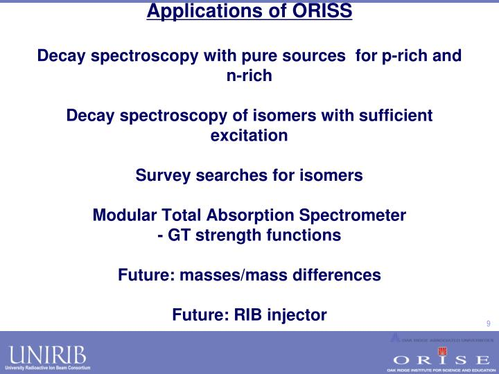 Applications of ORISS