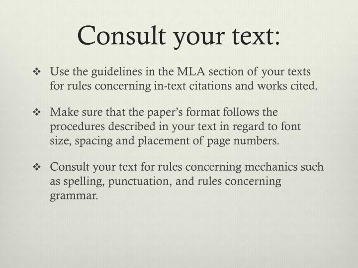 Consult your text: