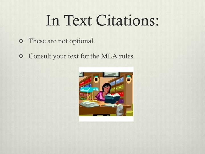 In Text Citations: