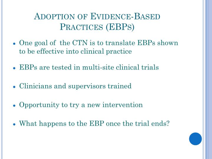Adoption of evidence based practices ebps