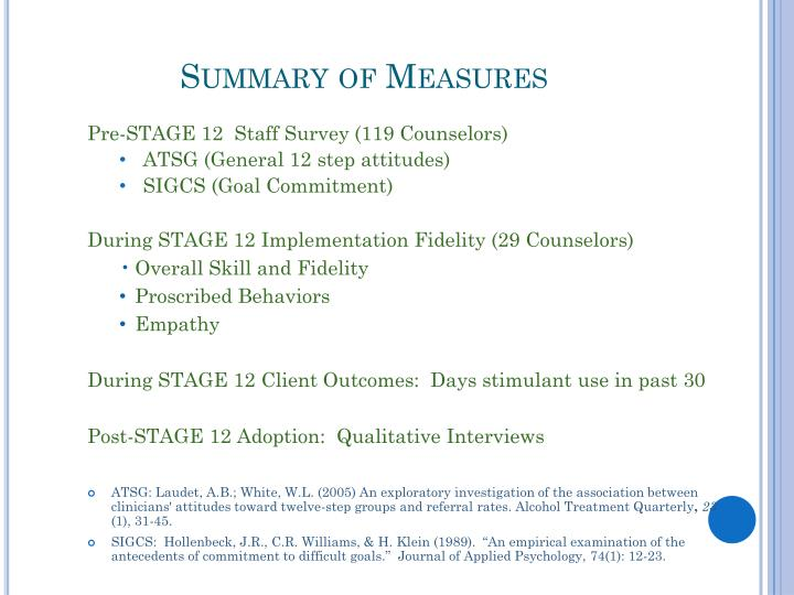 Summary of Measures