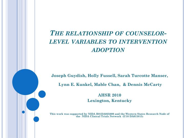The relationship of counselor level variables to intervention adoption