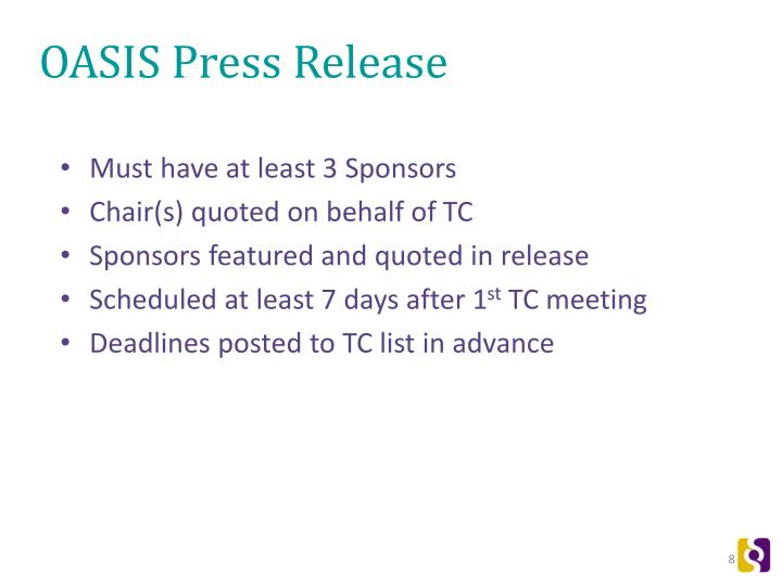 OASIS Press Release