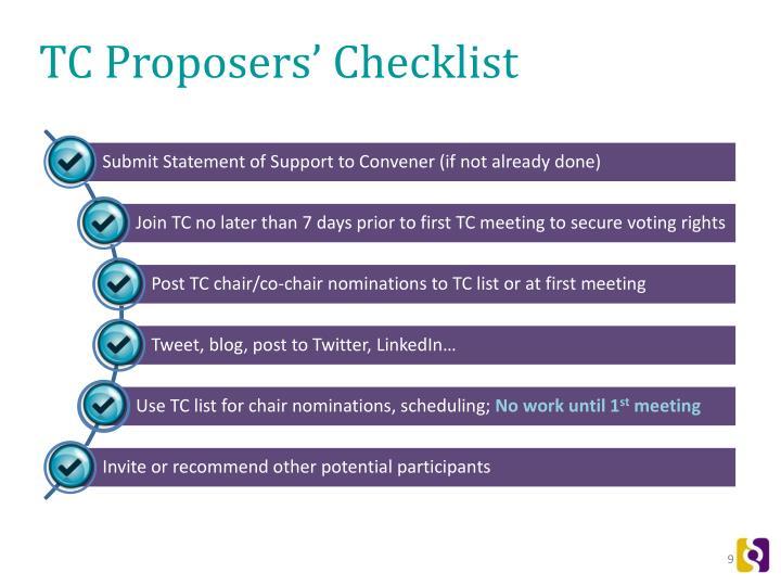 TC Proposers' Checklist