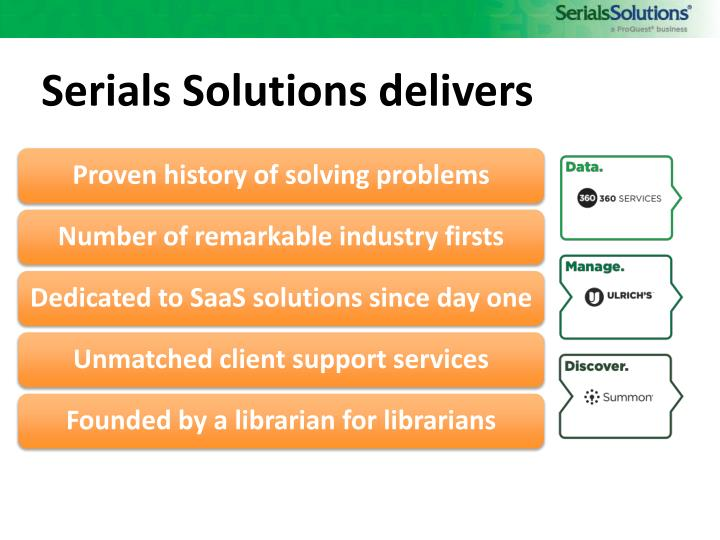Serials Solutions delivers