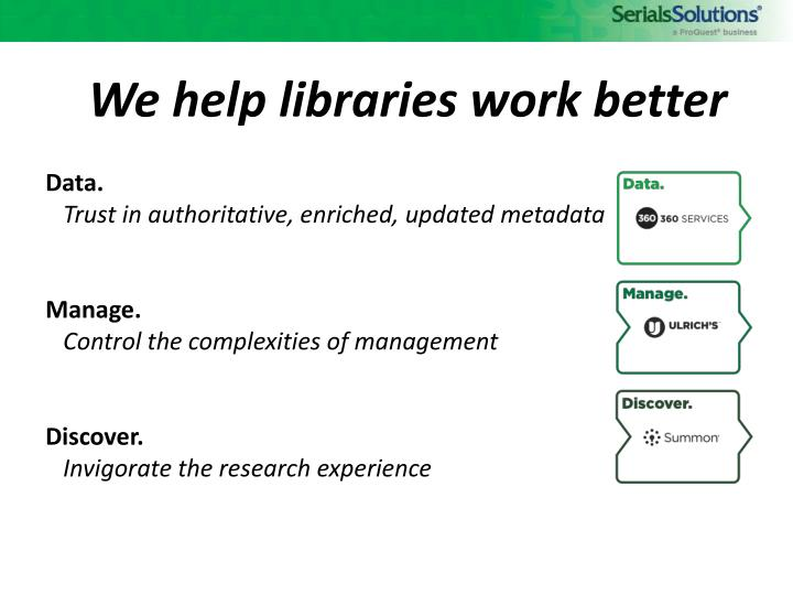 We help libraries work better