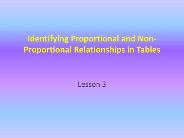 proportional and non relationship