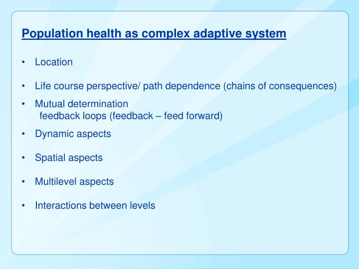 Population health as complex adaptive system