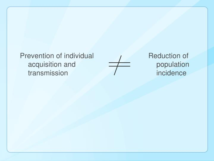 Prevention of individual acquisition and transmission
