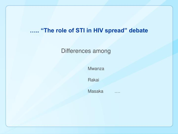 "….. ""The role of STI in HIV spread"" debate"