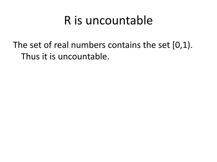 R is uncountable