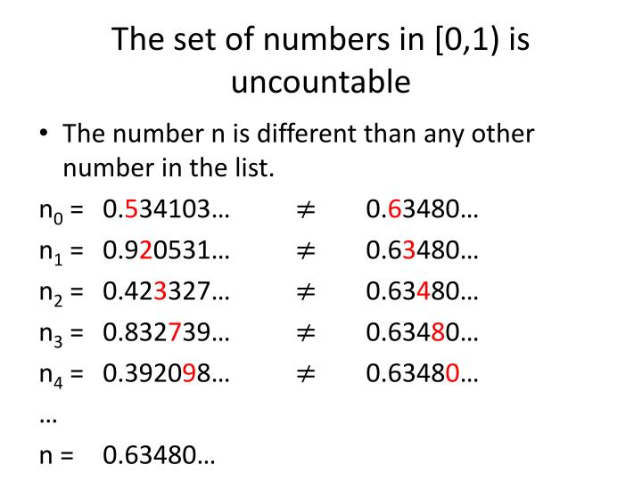 The set of numbers in [0,1) is uncountable
