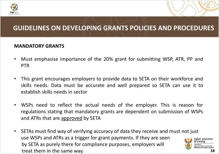 GUIDELINES ON DEVELOPING GRANTS POLICIES AND PROCEDURES