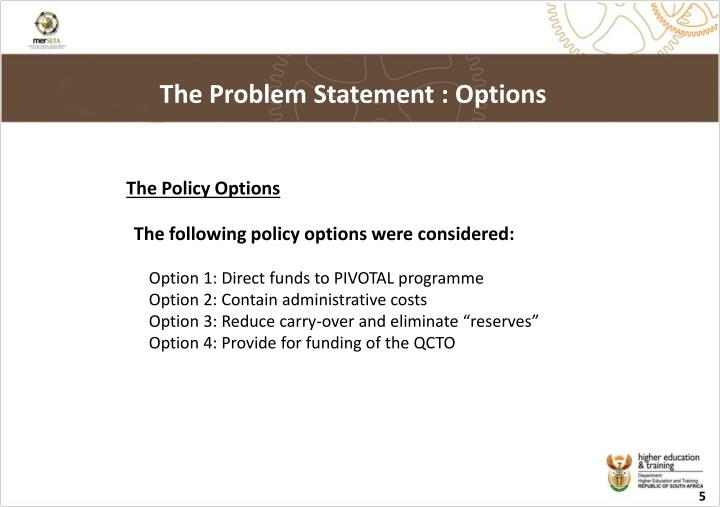 The Problem Statement : Options