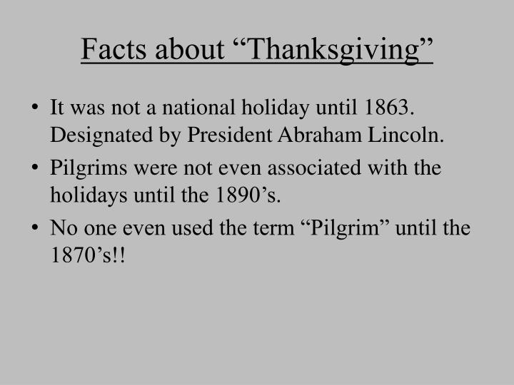 "Facts about ""Thanksgiving"""