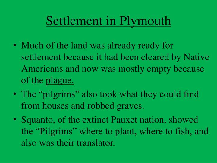 Settlement in Plymouth