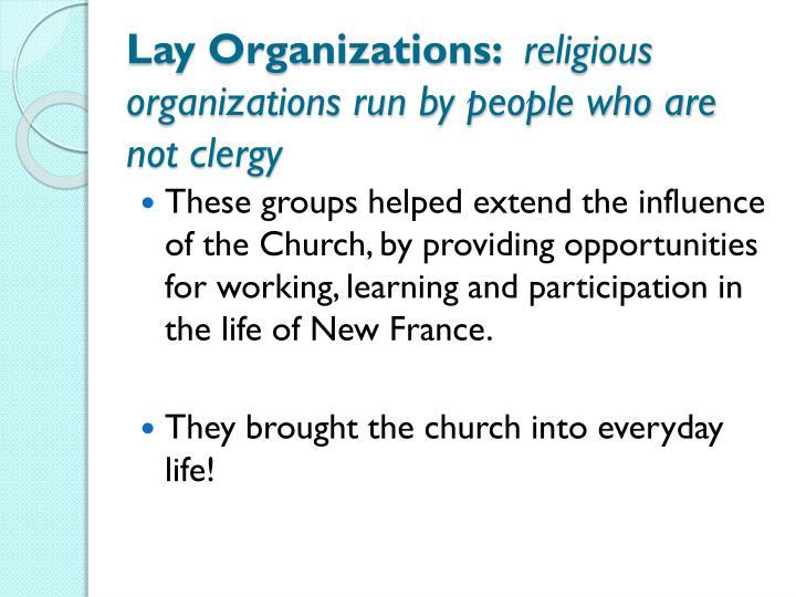 Lay Organizations: