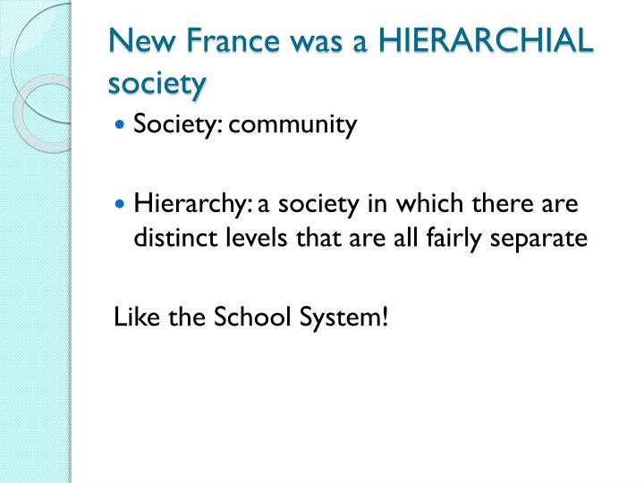 New France was a HIERARCHIAL society