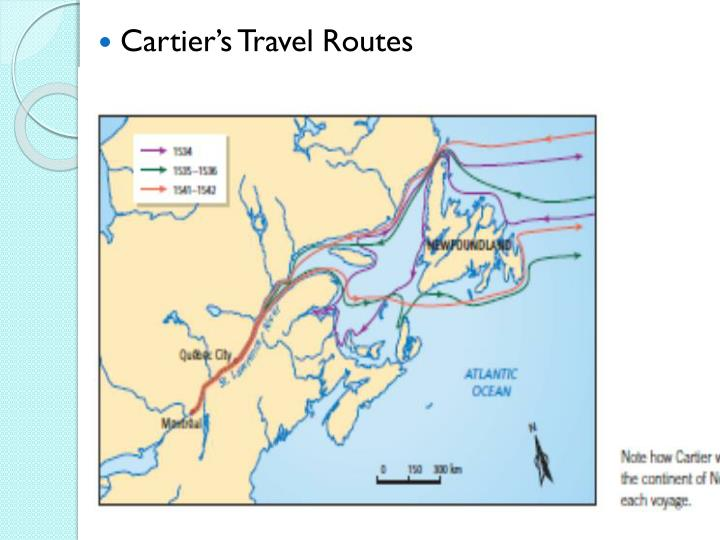 Cartier's Travel Routes