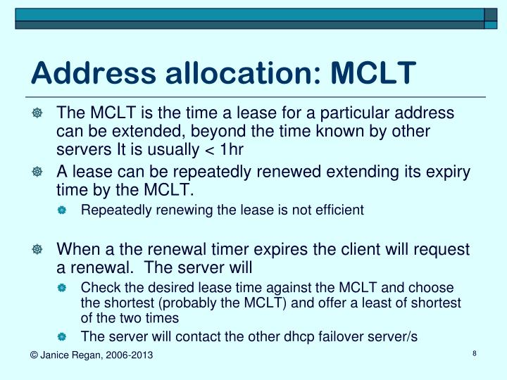 Address allocation: MCLT