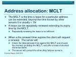 address allocation mclt