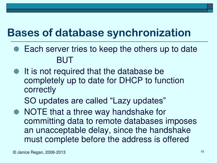 Bases of database synchronization