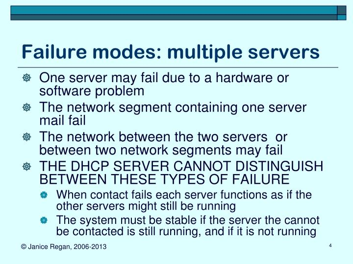 Failure modes: multiple servers