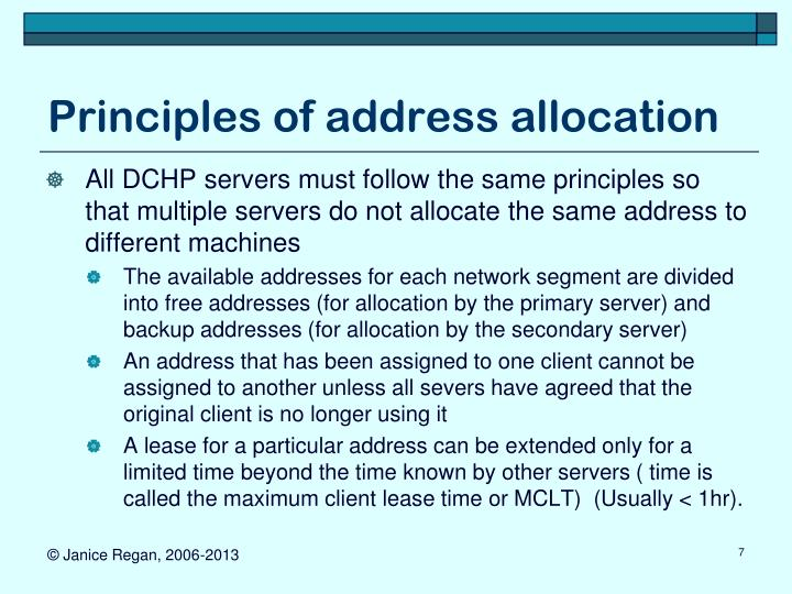 Principles of address allocation