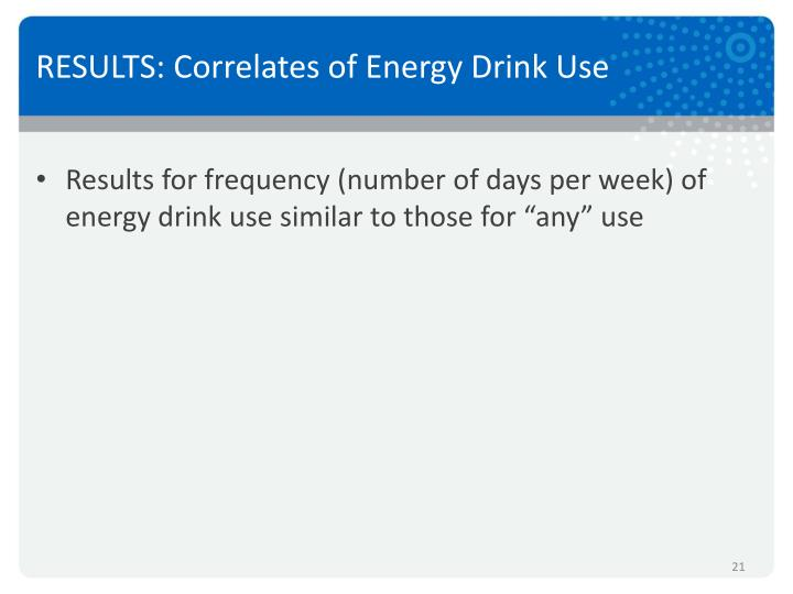RESULTS: Correlates of Energy Drink Use