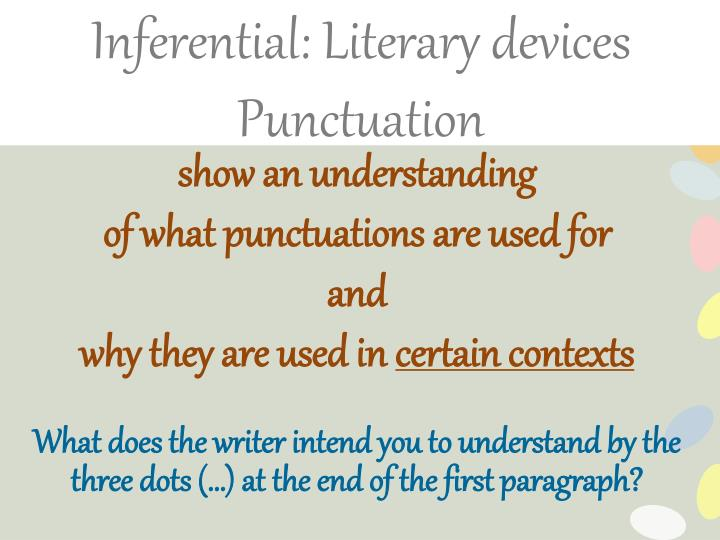Inferential: Literary devices