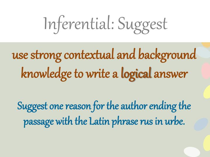 Inferential: Suggest