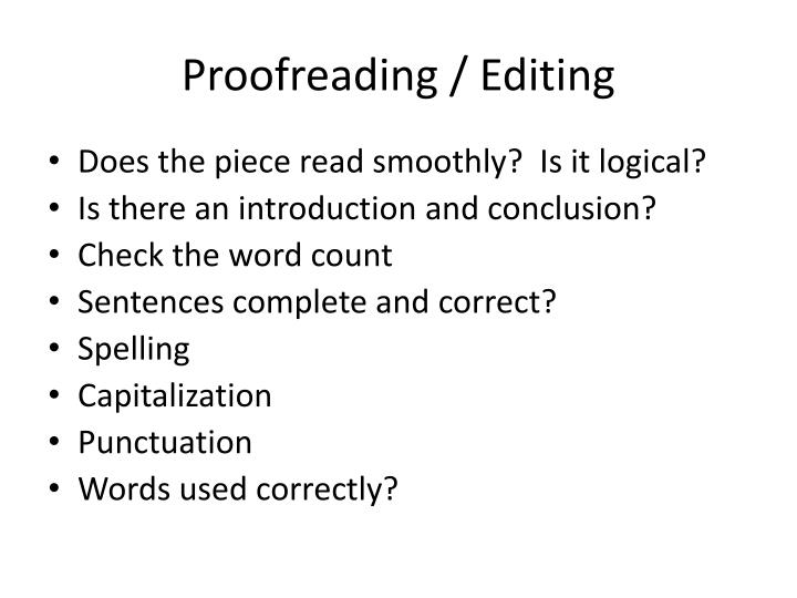 Proofreading / Editing