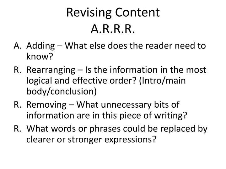 Revising Content