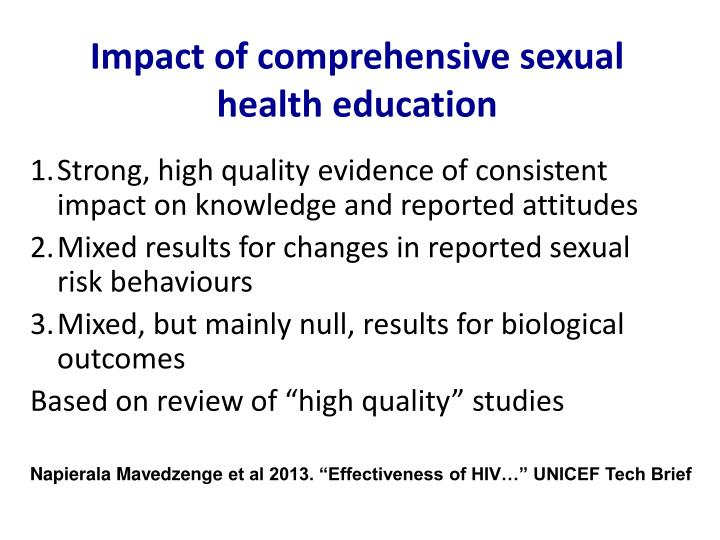 Impact of comprehensive sexual health education