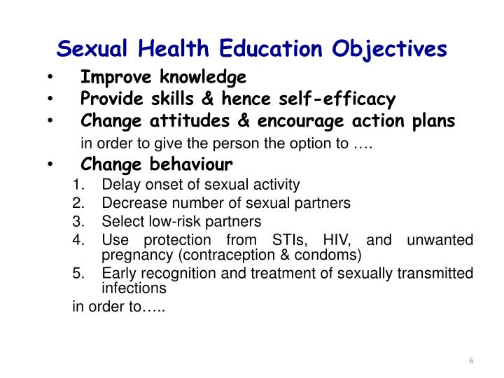 Sexual Health Education Objectives