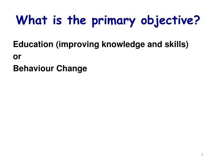 What is the primary objective?