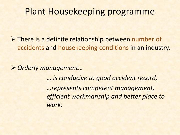 Plant housekeeping programme1