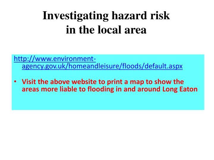 Investigating hazard risk
