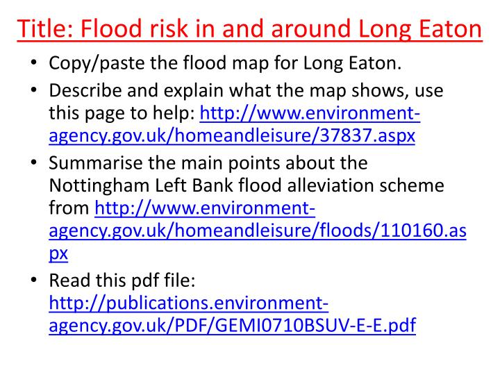 Title: Flood risk in and around Long Eaton