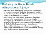 reducing the use of unsafe abbreviations a study