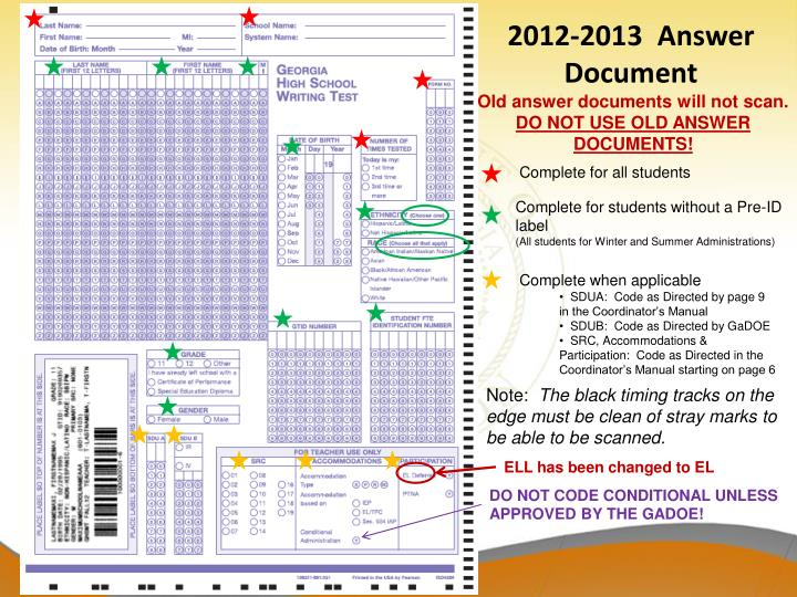 2012-2013  Answer Document