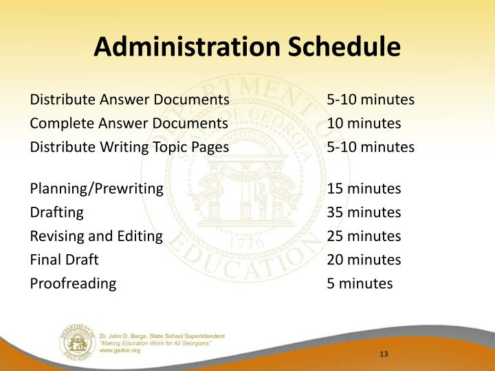 Administration Schedule
