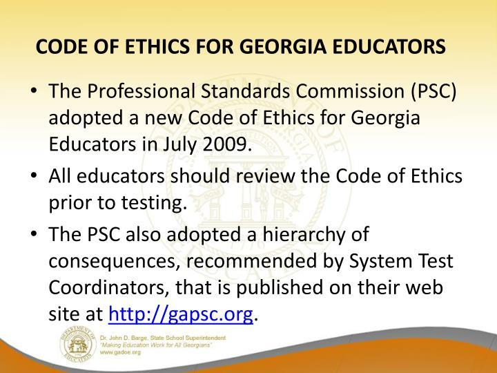 CODE OF ETHICS FOR GEORGIA EDUCATORS