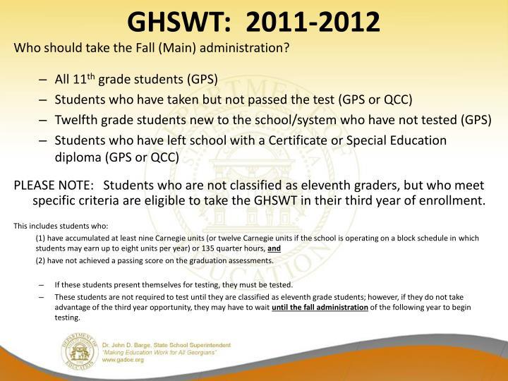 GHSWT:  2011-2012