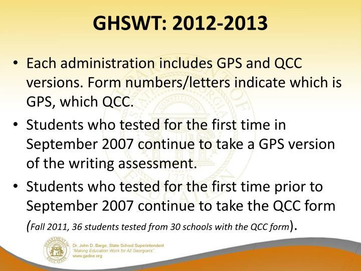 GHSWT: 2012-2013
