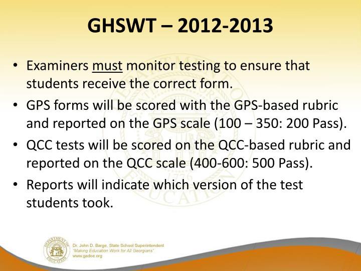 GHSWT – 2012-2013