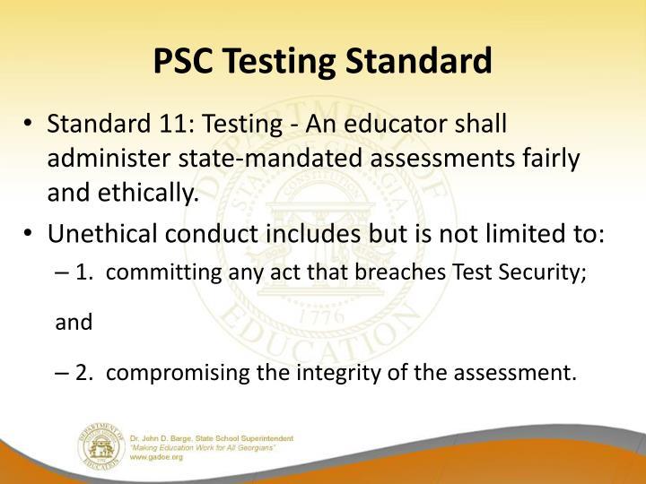 PSC Testing Standard