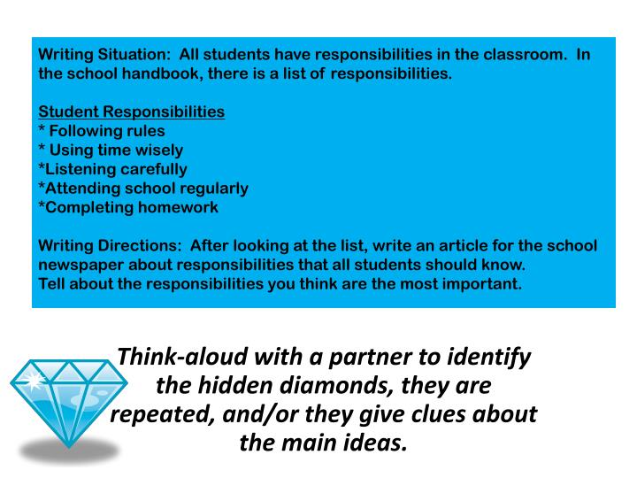 Writing Situation:  All students have responsibilities in the classroom.  In the school handbook, there is a list of responsibilities.