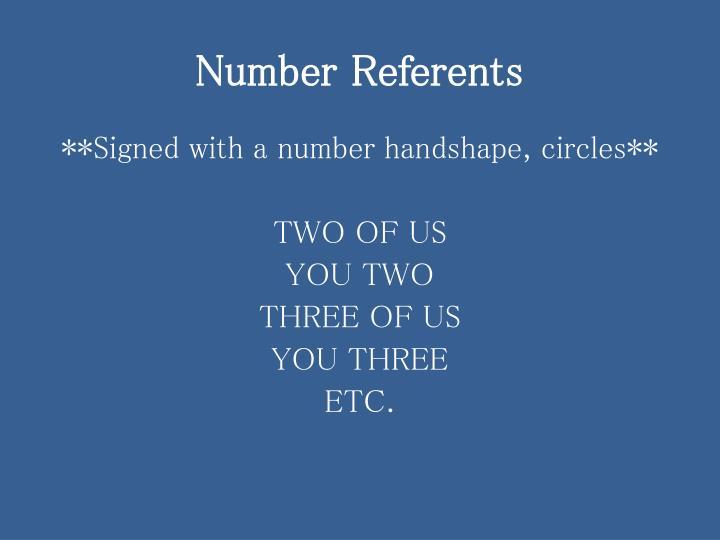 Number Referents