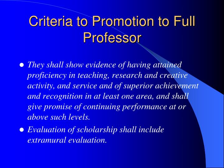 Criteria to Promotion to Full Professor